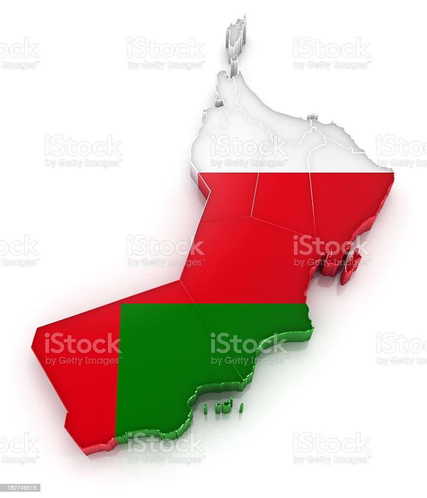 Oman map with flag royalty-free stock photo