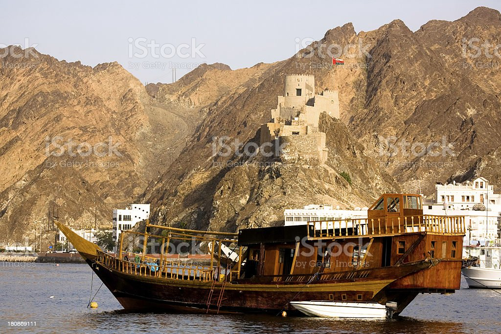 Oman, Muscat, Muttrah Harbor. stock photo