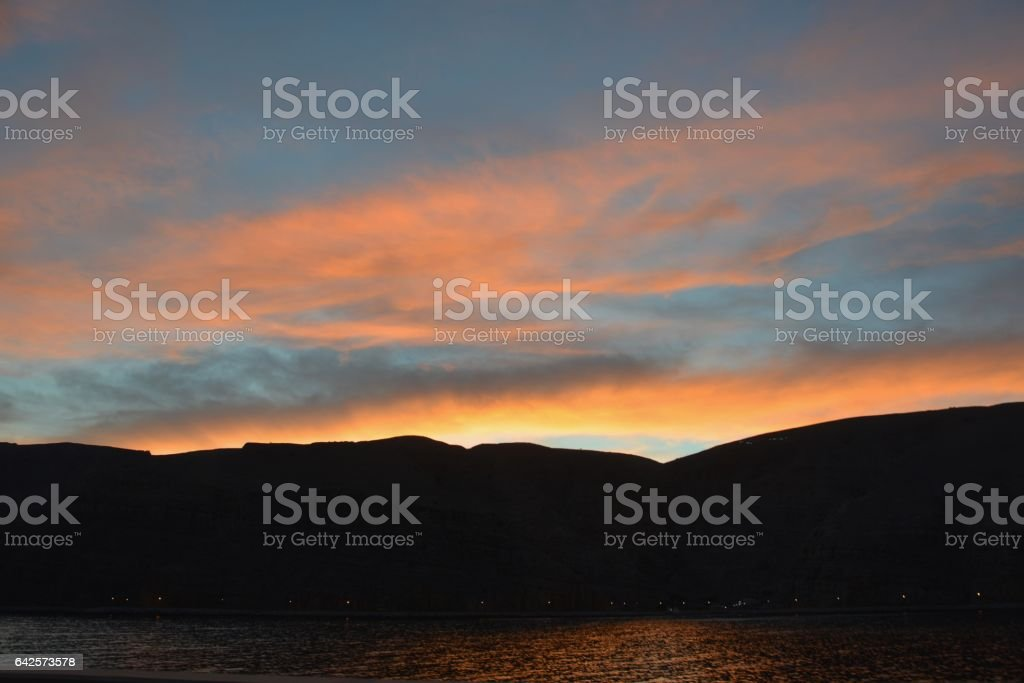 Oman sunset stock photo