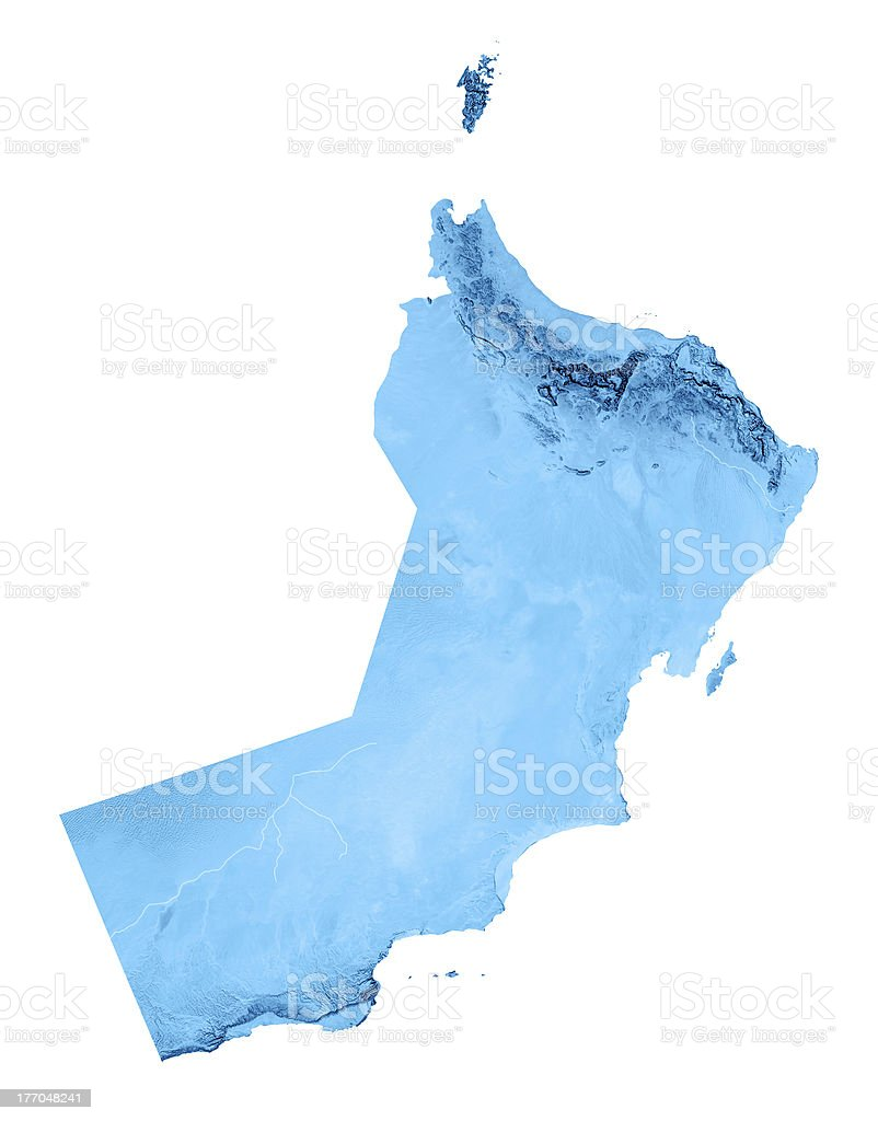 Oman Topographic Map Isolated royalty-free stock photo