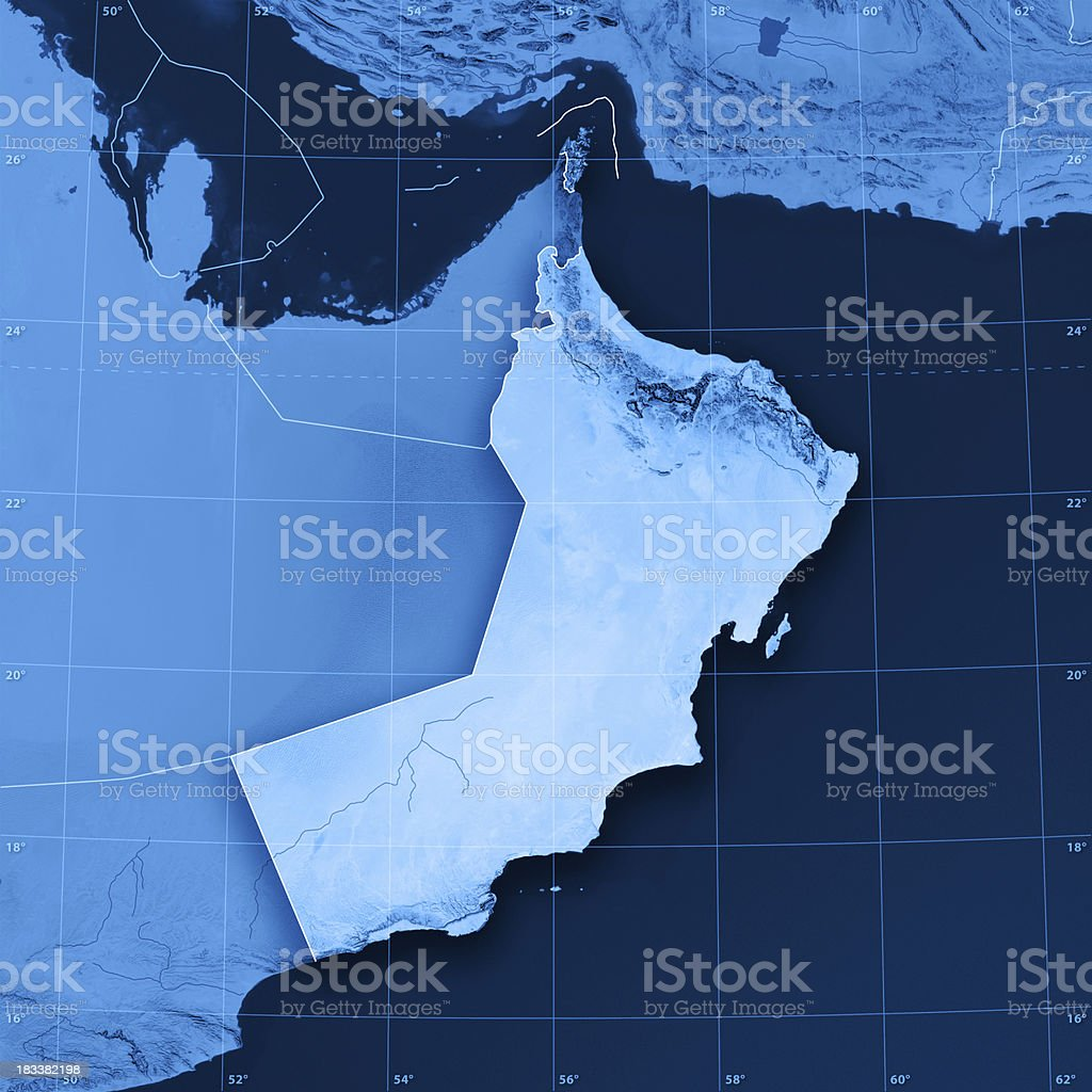 Oman Topographic Map royalty-free stock photo