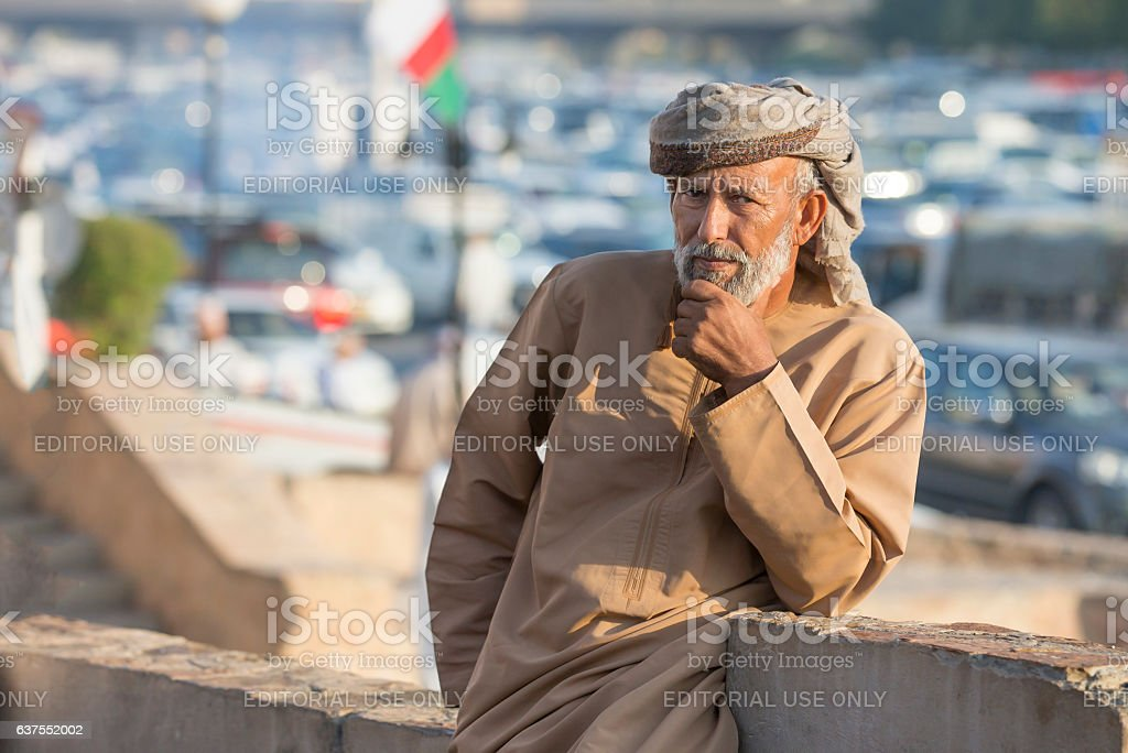 Omani man at the market in Nizwa stock photo