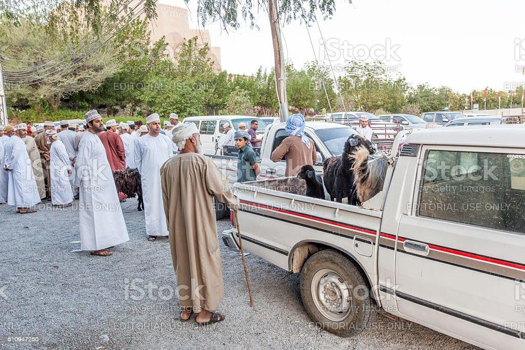 Omani men at the market in Nakhl, Oman stock photo