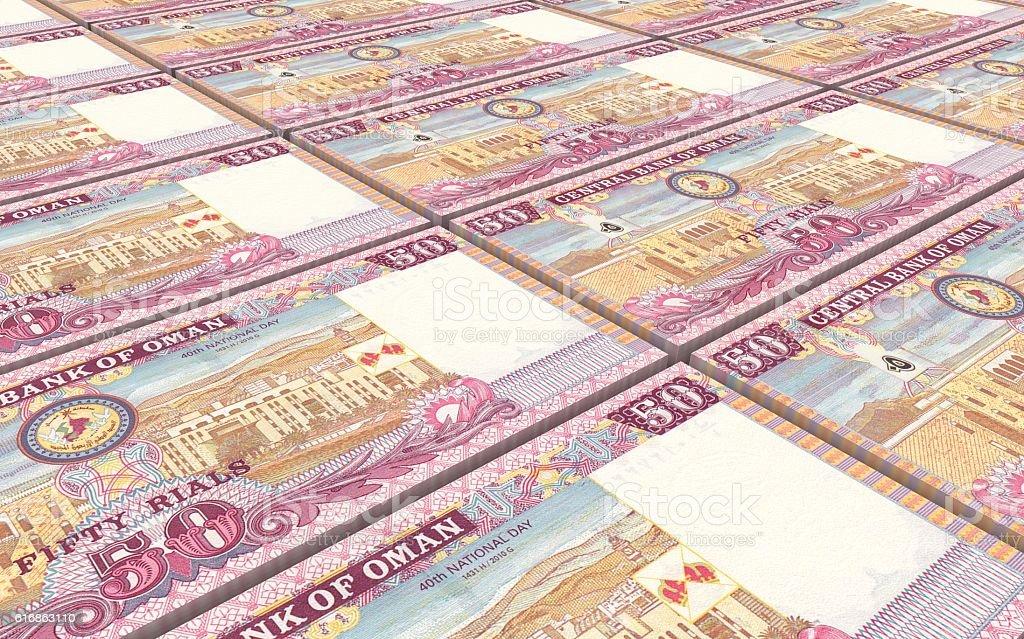 Omani rials bills stacked background. stock photo