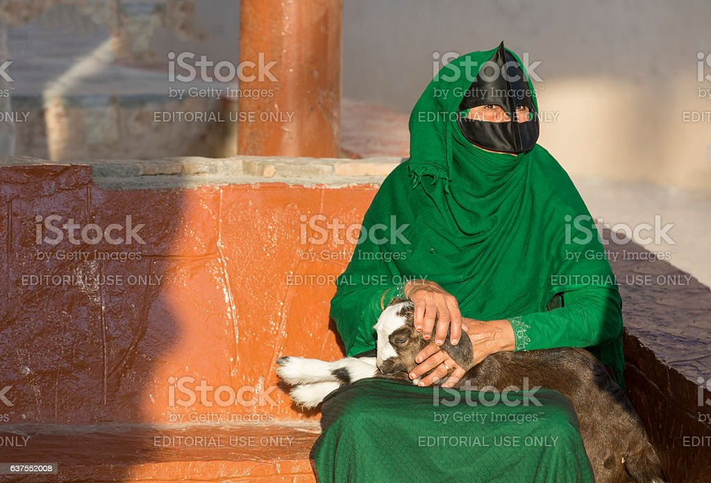 Omani woman in a market with a baby goat stock photo