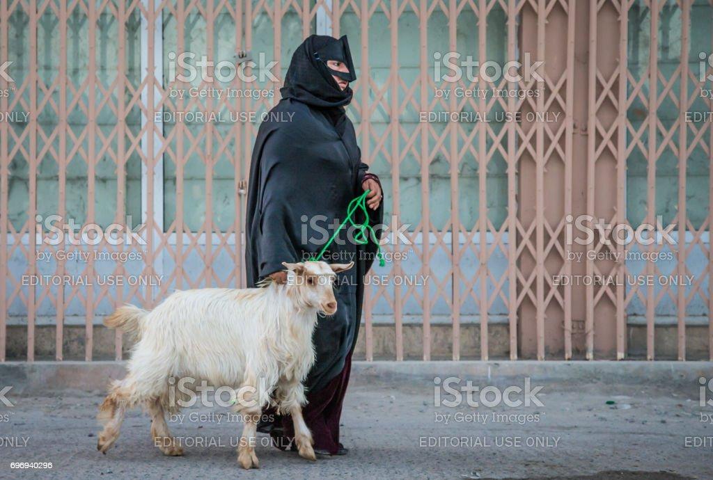 omani woman taking a goat to a market stock photo