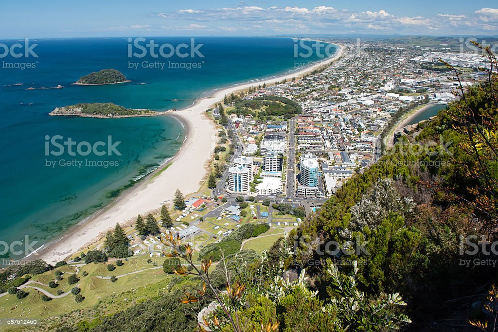 Omanu Beach from the top of Mount Maunganui, New Zealand stock photo