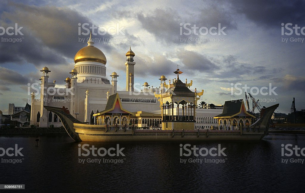 Omar Ali Saifuddien Mosque Brunei stock photo