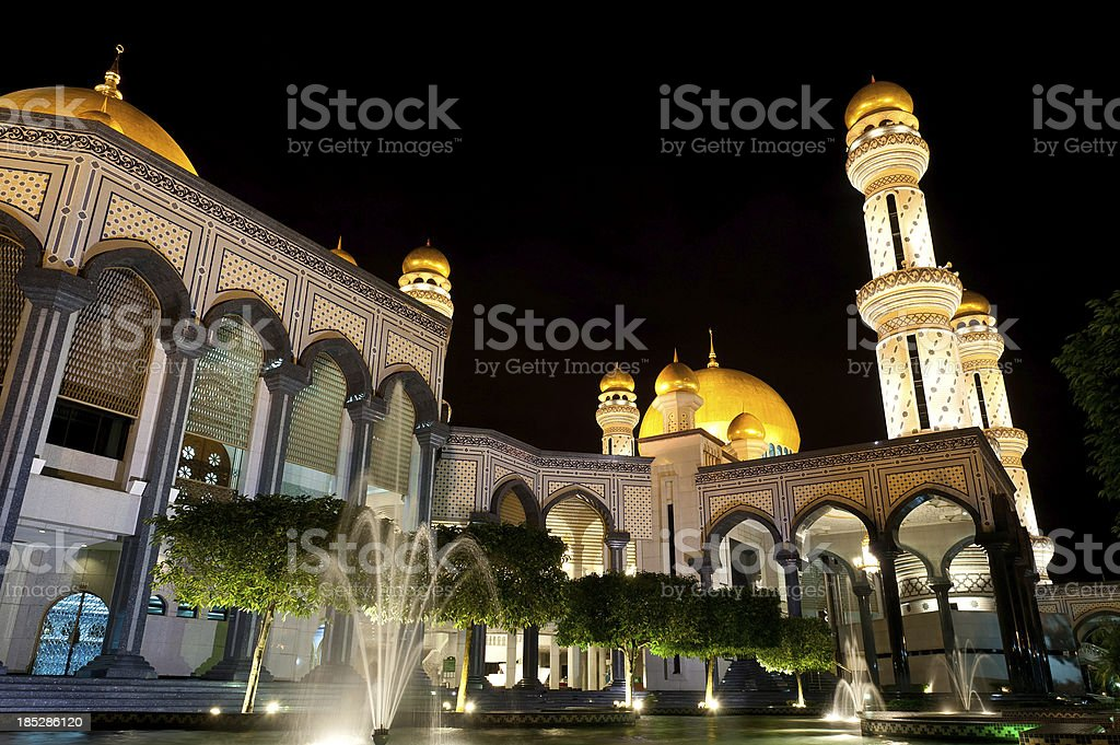 Omar Ali Saifuddien Mosque in Brunei stock photo
