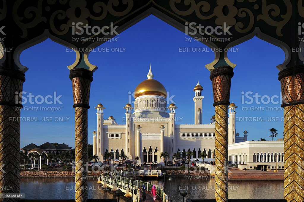 Omar Ali Saifuddien Mosque stock photo