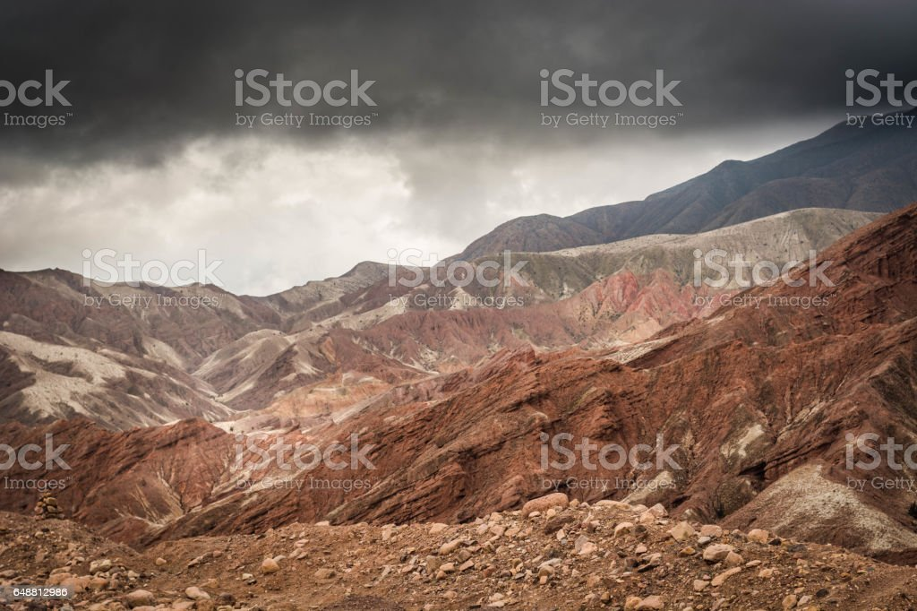 Omate Region Canyon covered in volcanic ash, during storm. stock photo