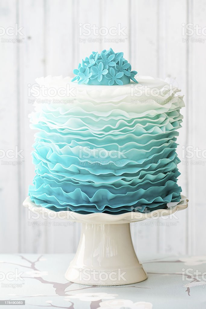Ombre ruffle cake stock photo