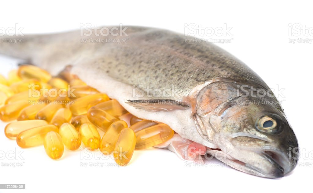 omega 3 fish oil capsules stock photo