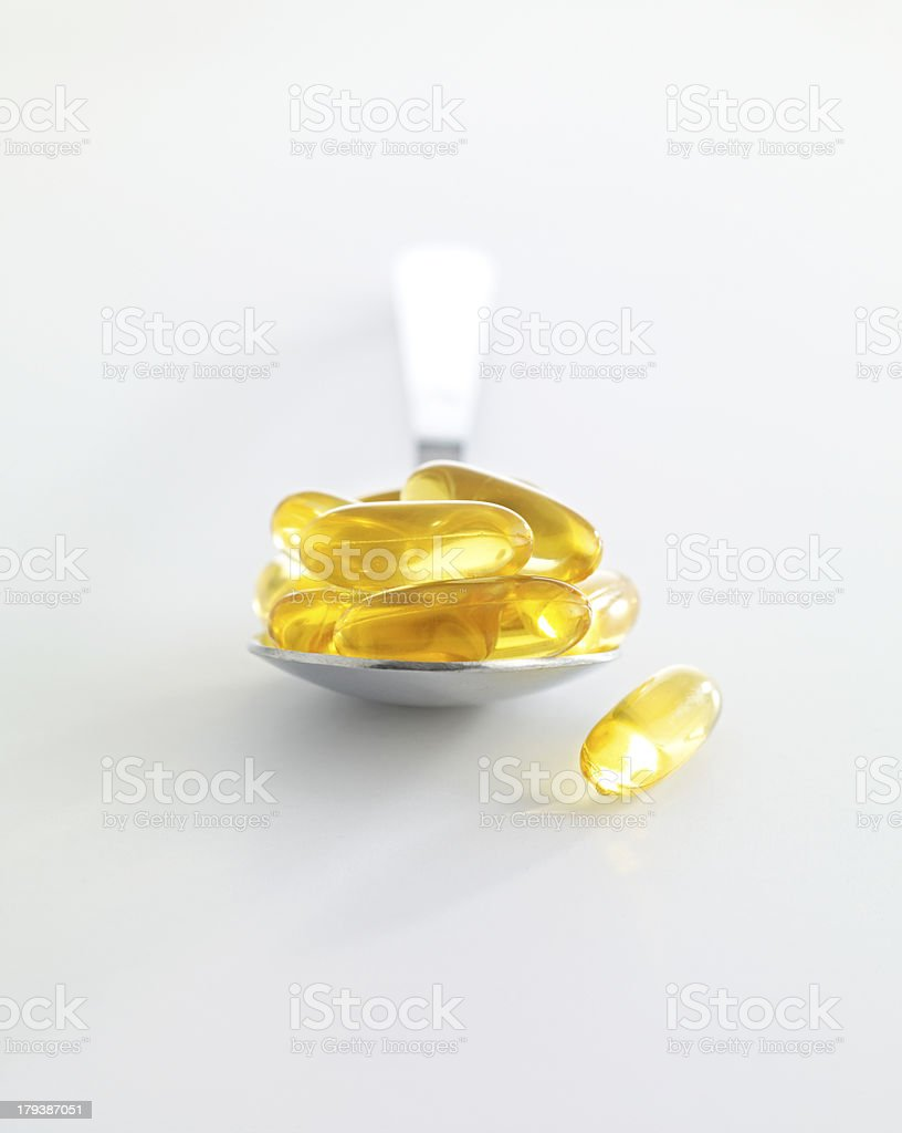 Omega 3 Fish Oil Gel Capsules royalty-free stock photo