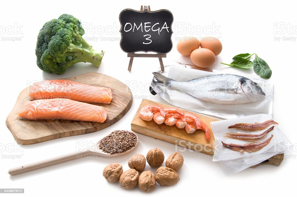 Omega 3 rich foods stock photo
