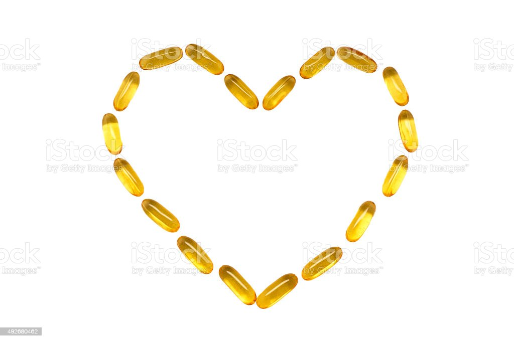 Omega 3 vitamin in a heart shape stock photo