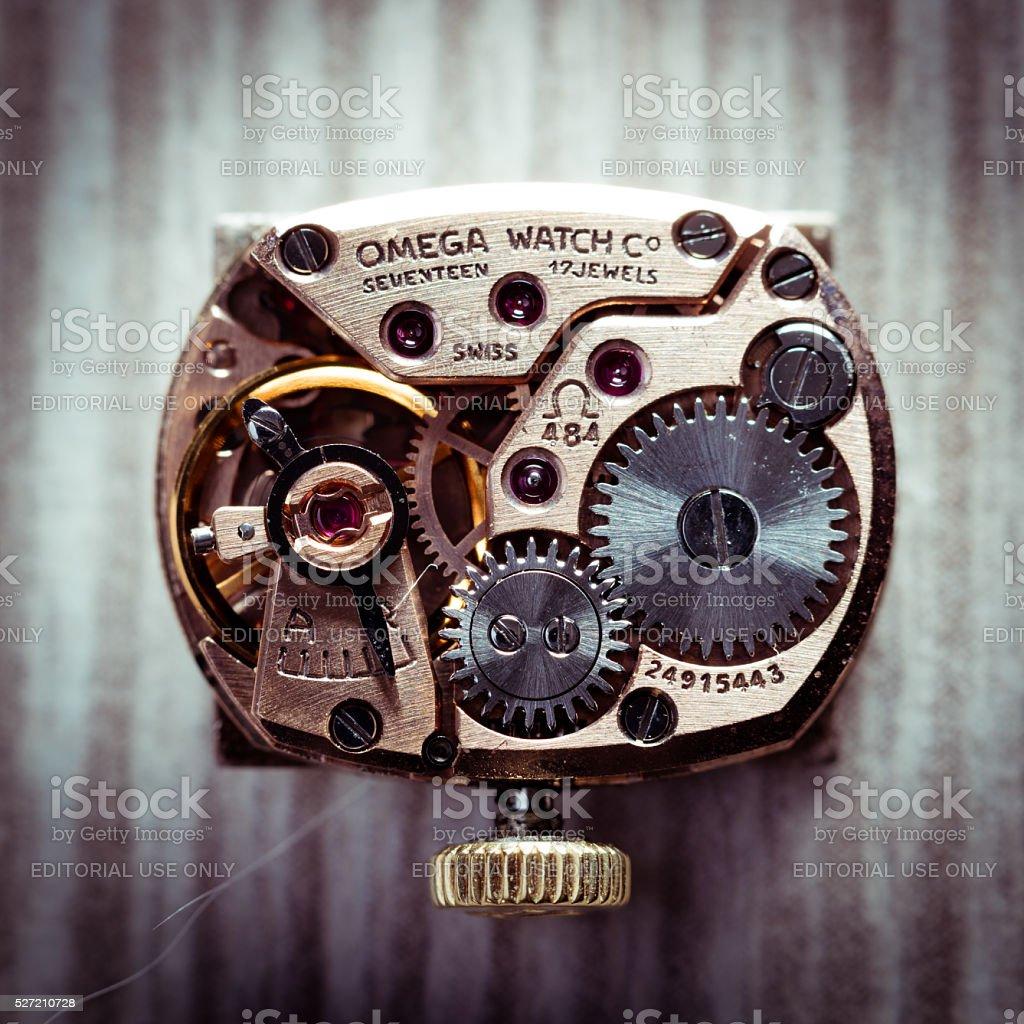 Omega caliber 484 closeup dramatized stock photo