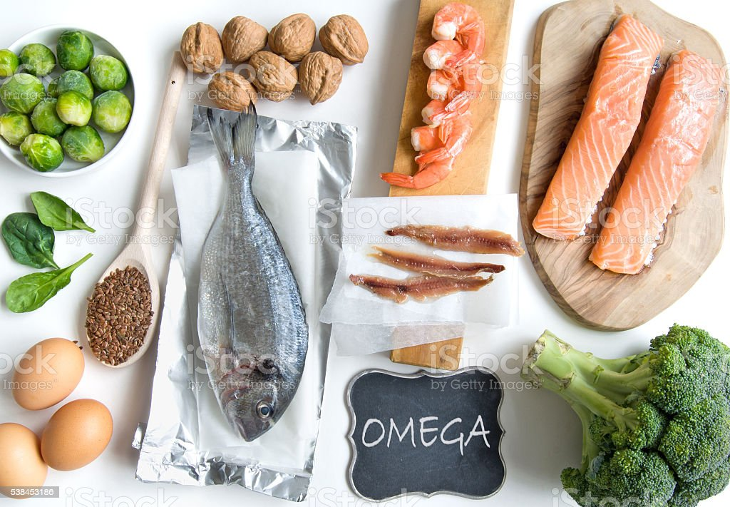 Omega fatty acid foods stock photo