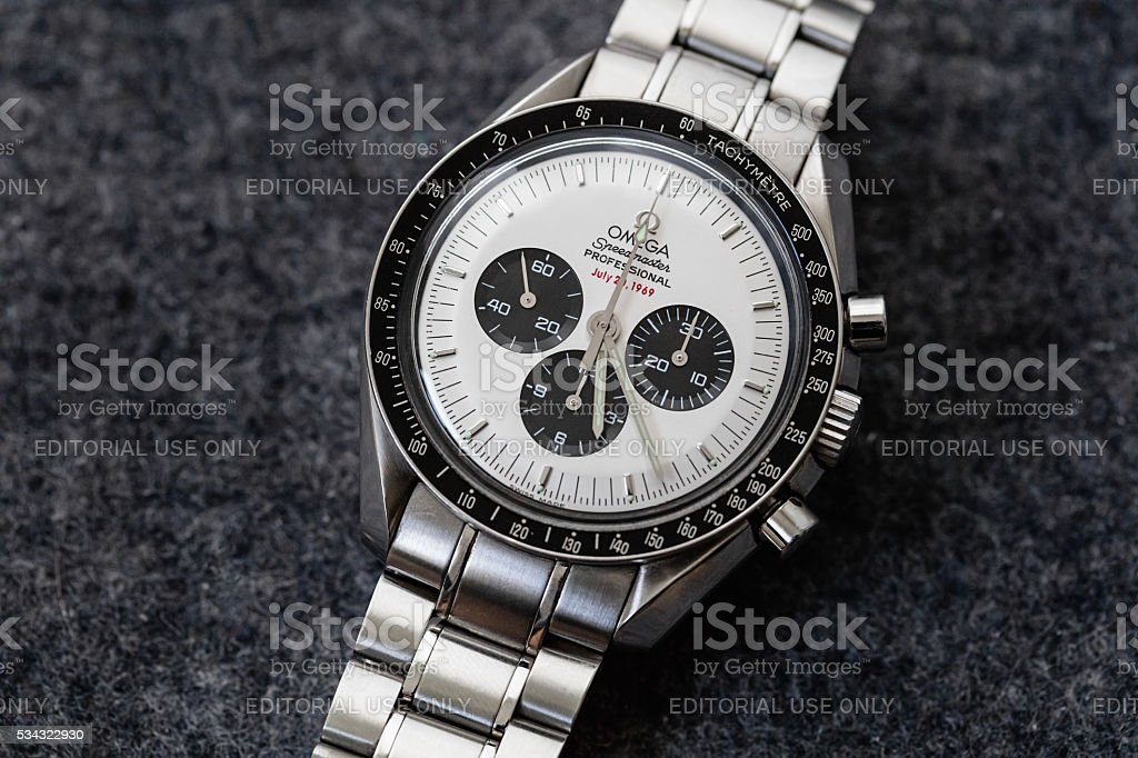 Omega Speedmaster Professional Apollo XI Watch Rare White Panda Dial stock photo