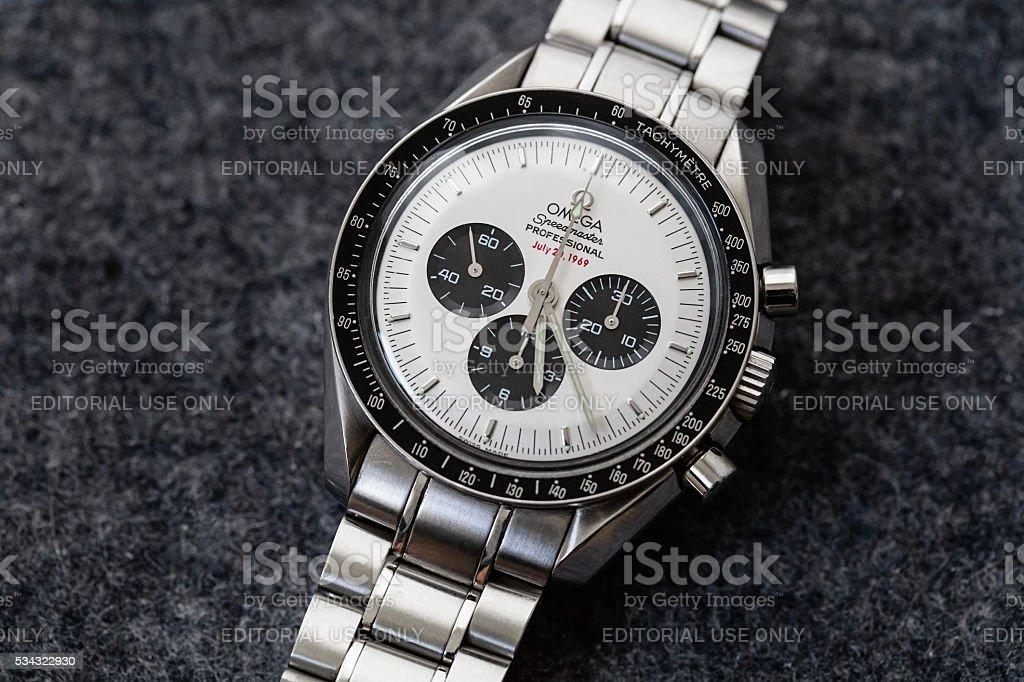 Omega Speedmaster Professional Apollo XI Watch Rare White Panda Dial stock photo