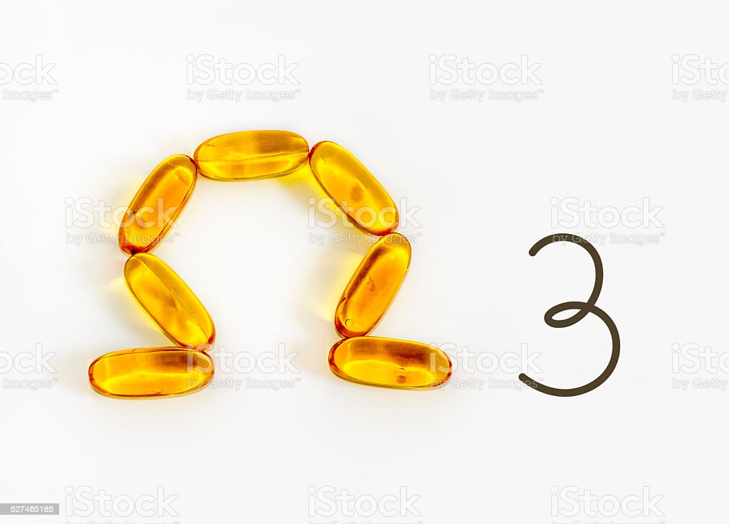 Omega-3 fatty acid symbol stock photo