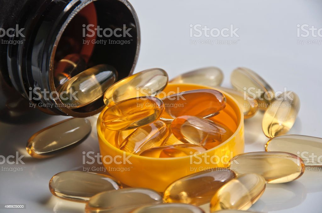 Omega-3 Fish Oil Capsules stock photo