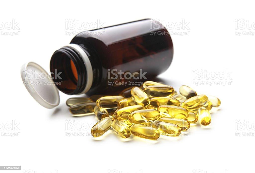 Omega3 Fish oill capsule stock photo