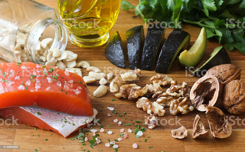 Omega-3 Foods on Wood Background stock photo