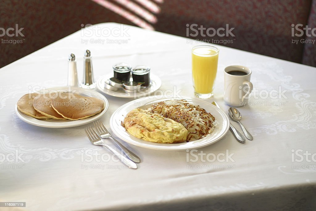 Omelet Hash Browns and Pancakes royalty-free stock photo