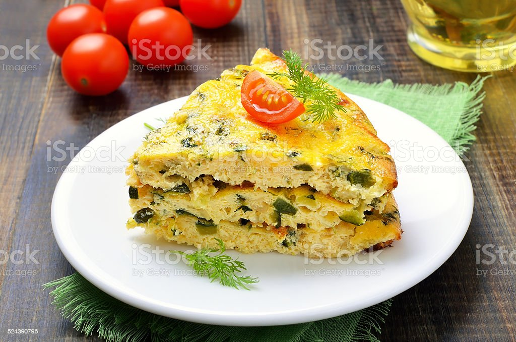 Omelet on white plate, close up stock photo