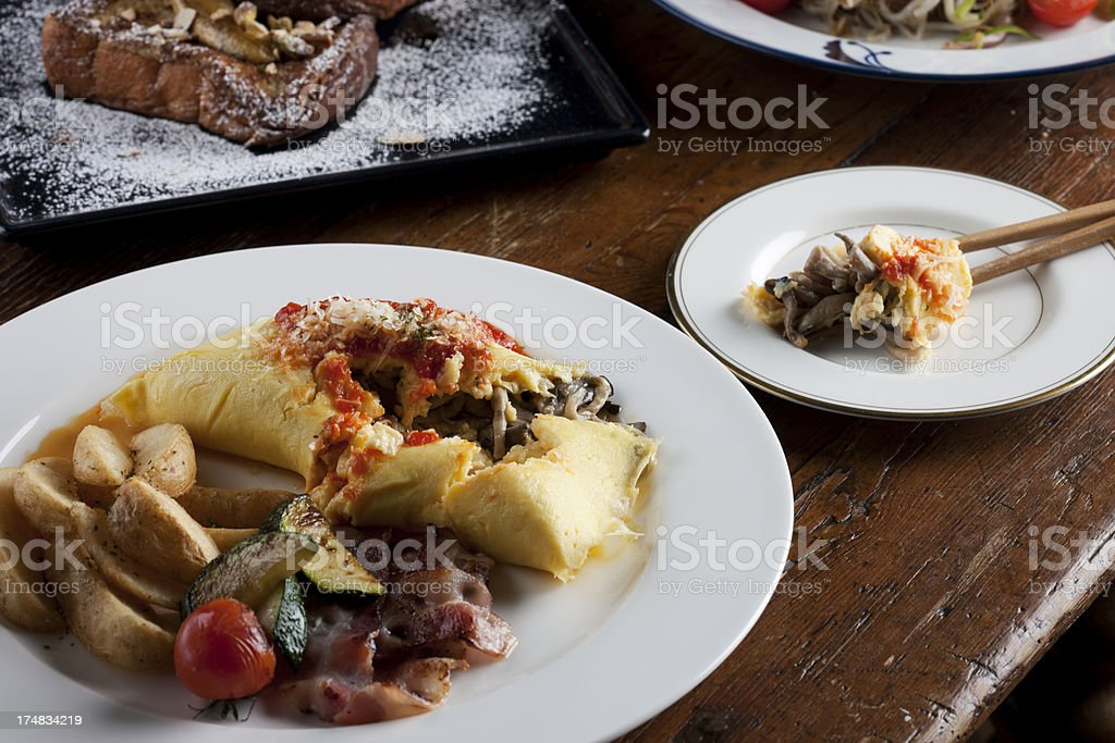 Omelet with bacon & potato royalty-free stock photo