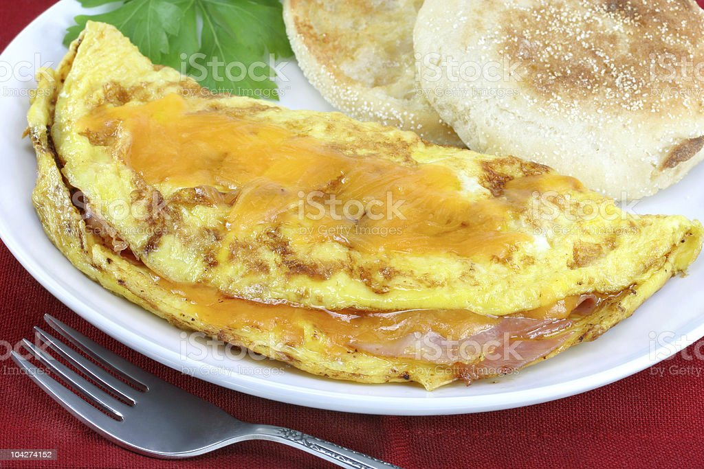 Omelet with Ham and Cheese royalty-free stock photo