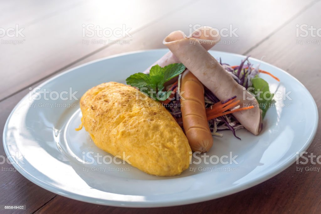 omelet with ham tomato and salad stock photo