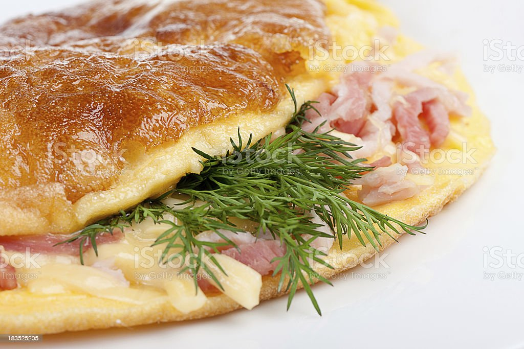 Omelet with herbs and bacon stock photo