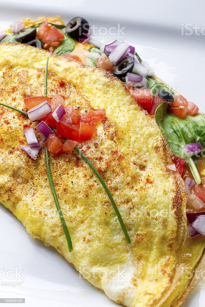 Omelette on White Plate royalty-free stock photo