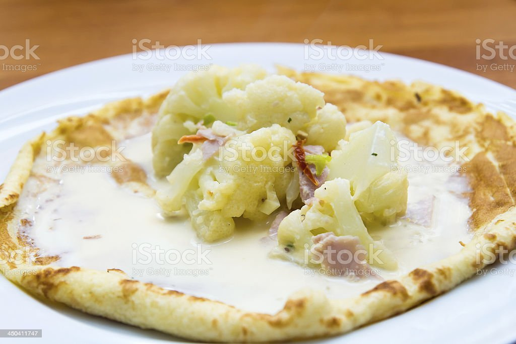 Omelette with cauliflower royalty-free stock photo