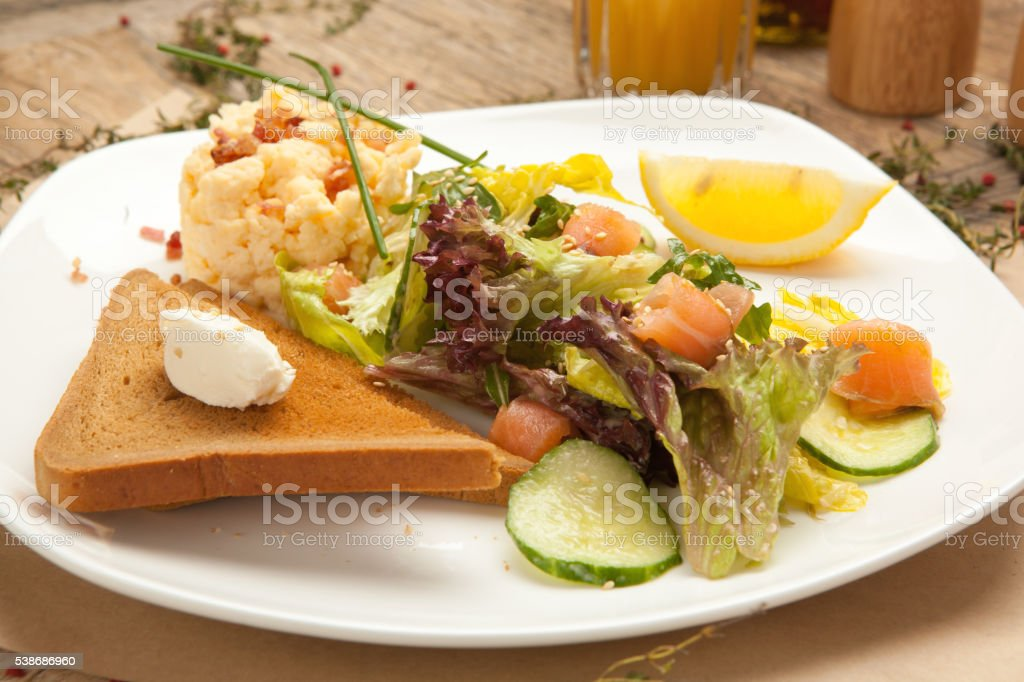 Omelette with grilled mozzarella and tomatoes. stock photo