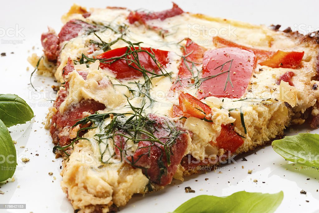 Omelette with salami and pepper royalty-free stock photo