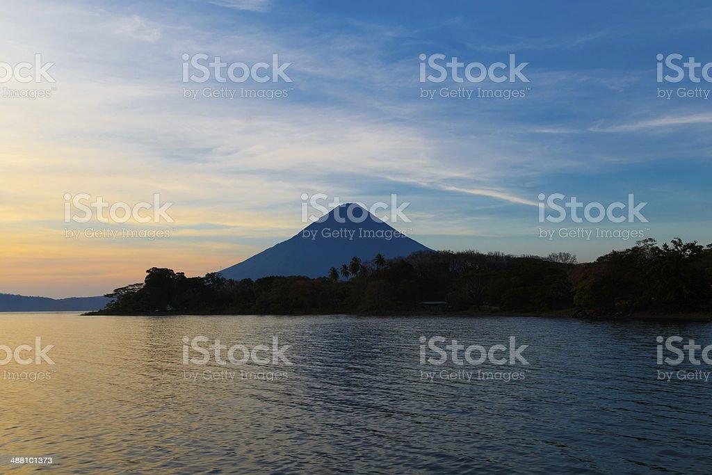 Ometepe vulcano Concepcion view in sunshine stock photo