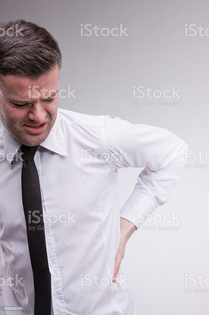 omg what a backache says the man royalty-free stock photo