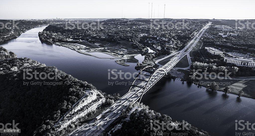 Ominous Aerial Over Austin Pennybacker Bridge stock photo