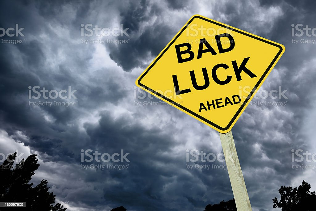 Ominous Bad Luck Road Sign royalty-free stock photo