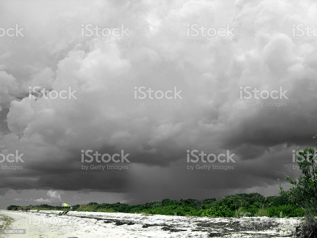 Ominous Brewing Sky at Honeymoon Island Beach, Florida stock photo