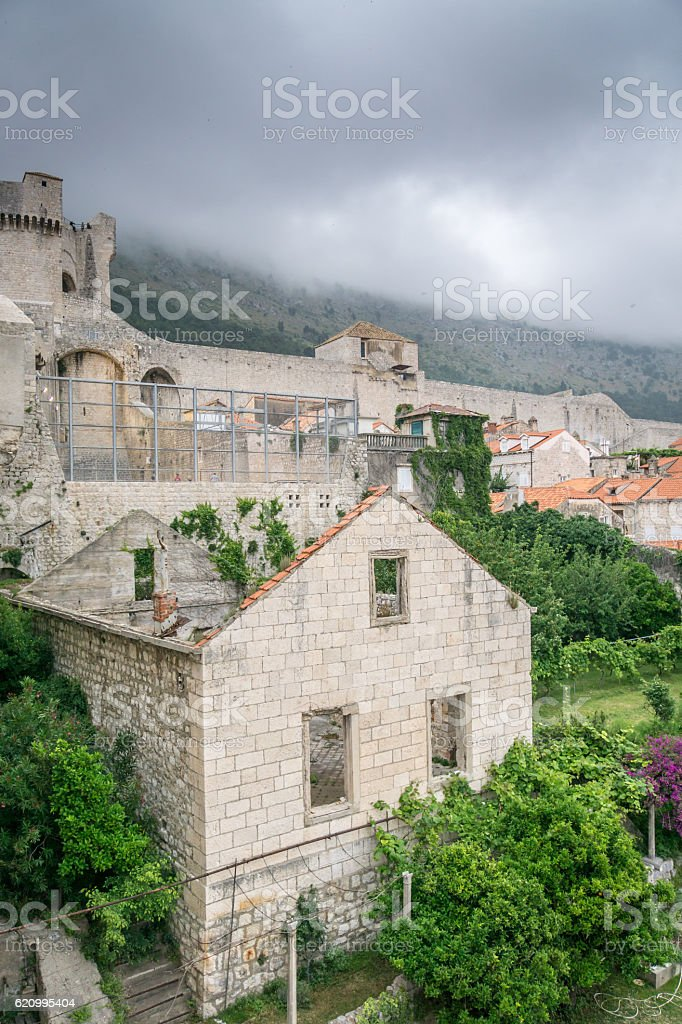 Ominous Clouds Cover Mount Srd Near Dubrovnik stock photo