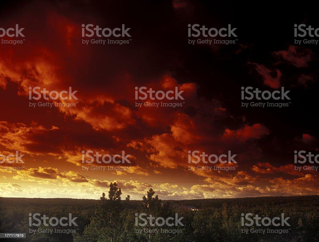 Ominous crimson sky. stock photo
