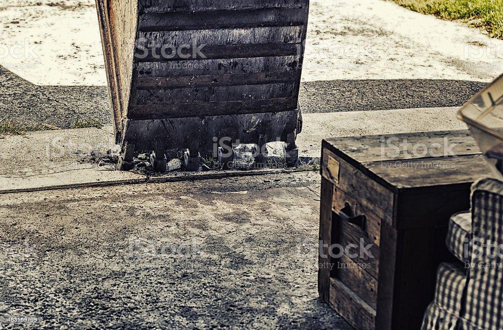 Ominous Excavator Scoop Breaking Concrete royalty-free stock photo