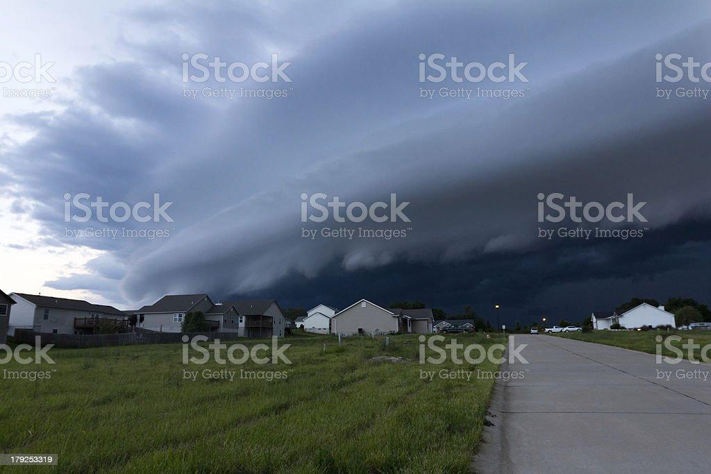Ominous Shelf Cloud Over Neighborhood stock photo