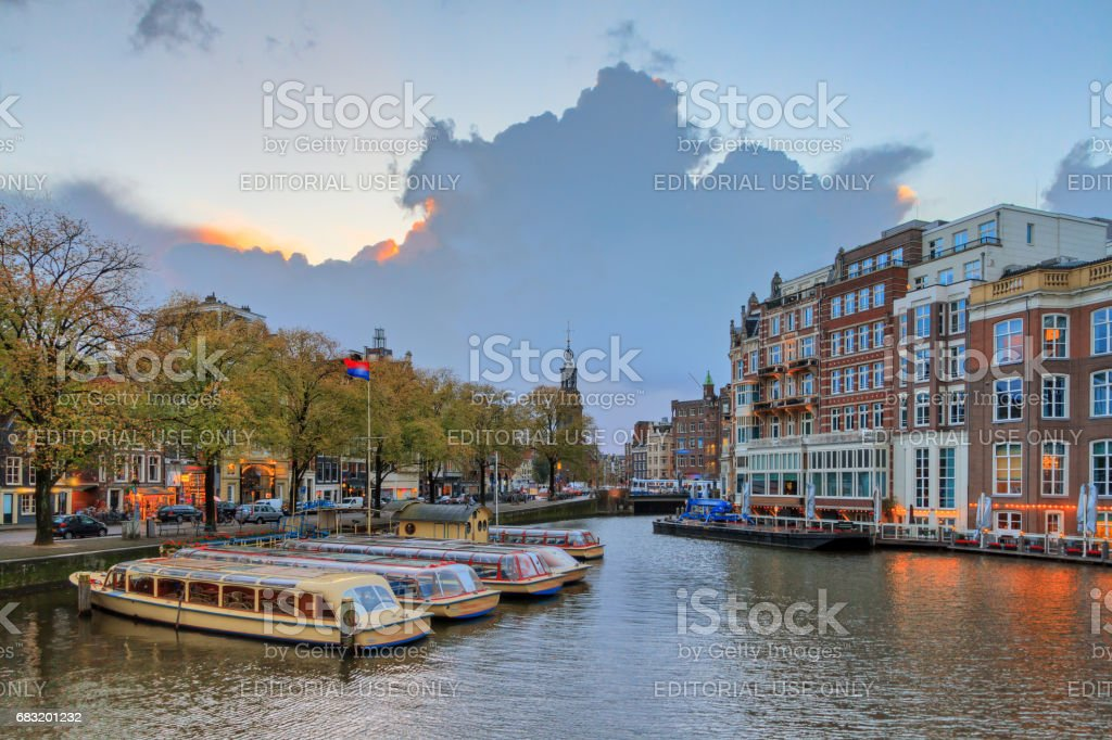 Ominous sky at the Amstel river stock photo
