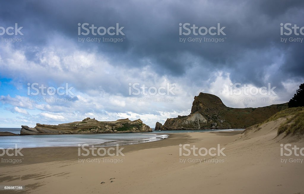 Ominous Sky Over Deliverance Cove, New Zealand stock photo