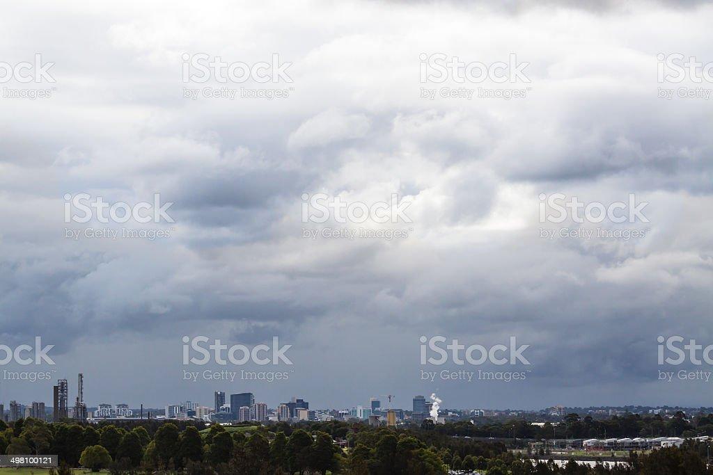 Ominous Stormclouds over Parramatta City Skyline, Sydney, Australia stock photo